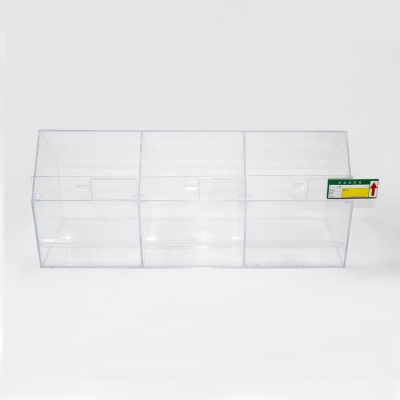 Custom size transparent acrylic candy storage display cookie box food display stand nuts fruit organizer with Price Tag Slot