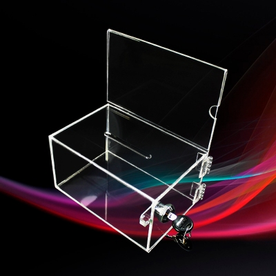 Clear custom made transparent acrylic business card display ballot suggestion box with lock