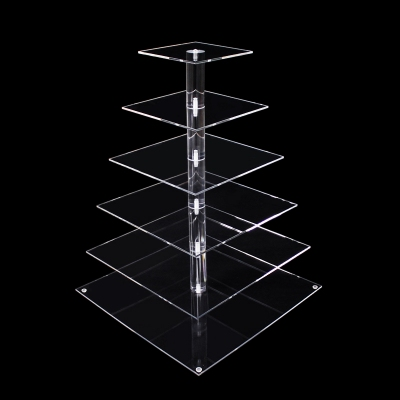 Custom 6 tier clear square acrylic wedding cake tower transparent dessert fruits display stand