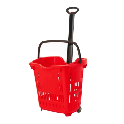 40L Supermarket plastic rolling shopping hand basket with handles with 2 wheels