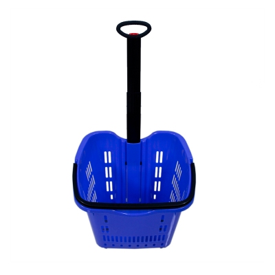 Supermarket 50L plastic rolling shopping basket with 2 wheels