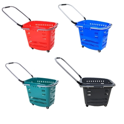Supermarket plastic shopping shopping basket with 4 wheels