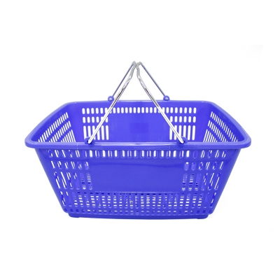 Eco-friendl plastic net shopping basket with metal handle for supermarket/shop