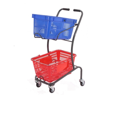 Japanese style double basket supermarket shopping cart trolley with wheels