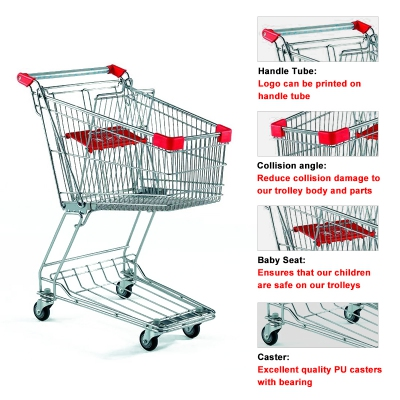 Europea Styles Metal Supermarket Shopping Cart Trolleys